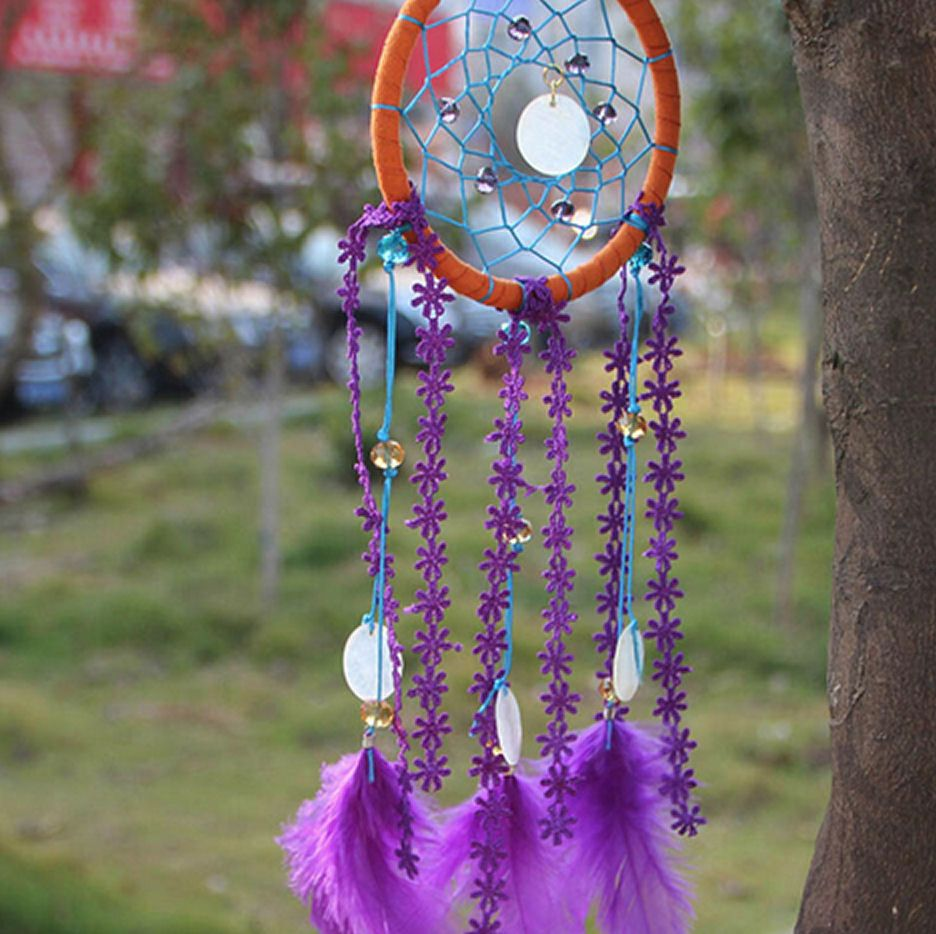 Feather dream catcher purple and turquoise
