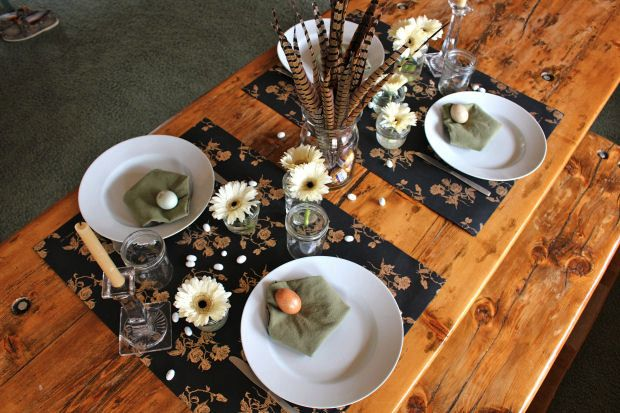 Pheasant feather table centerpiece