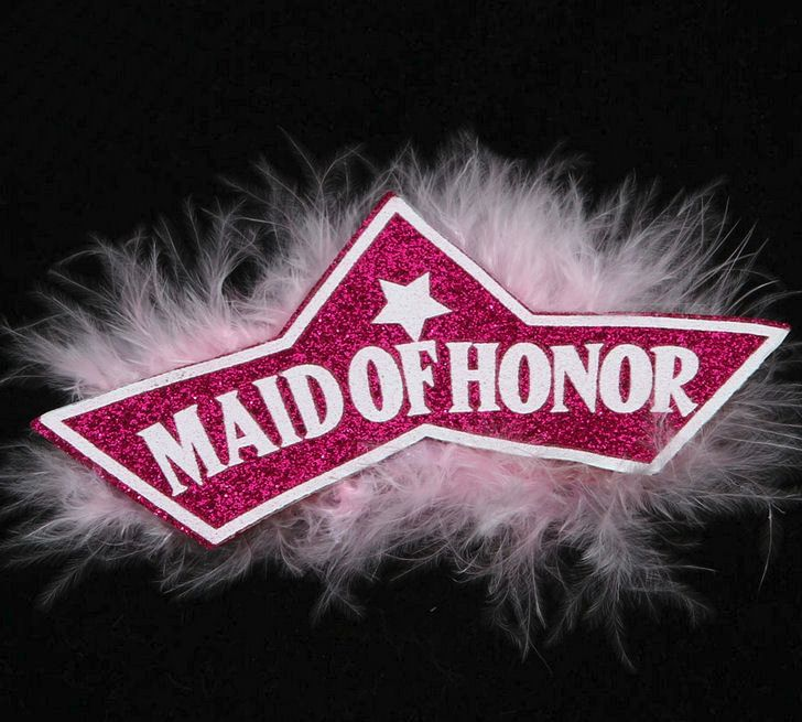 Maid of Honour Badge with Pink Feathers