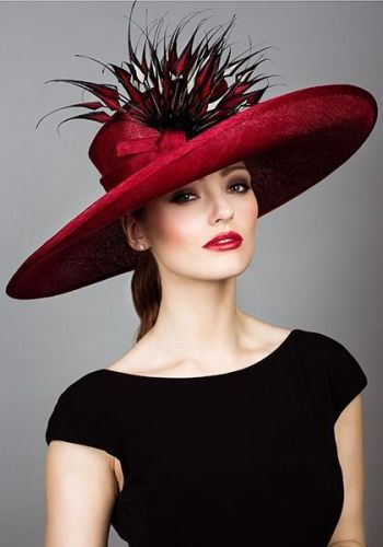 Stunning red hat with beautiful feather detail