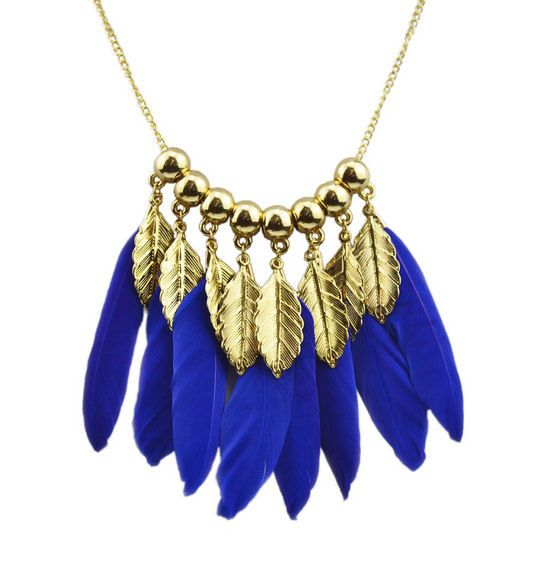 Royal Blue and Gold Feather Necklace