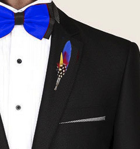 Feather Boutonnière Buttonhole - Blue Goose Feather