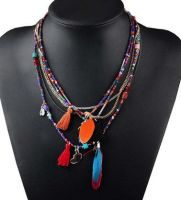 Tassel Feather Beaded Necklace (Multi)