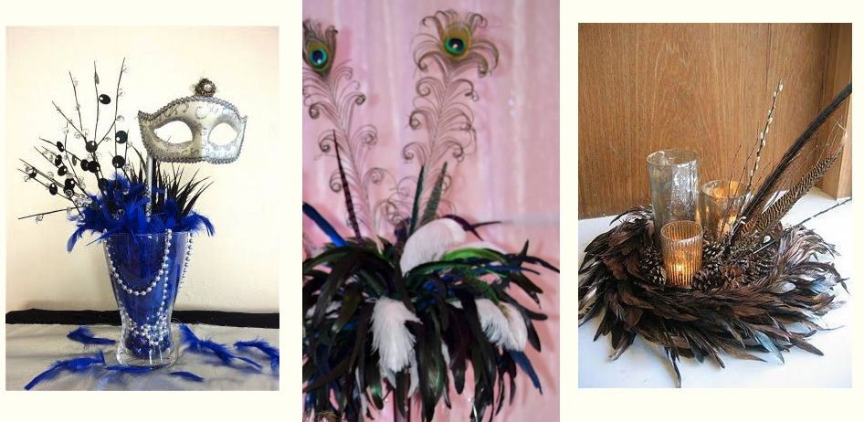 Rooster feathers make a lower cost alternative to wedding ostrich feathers