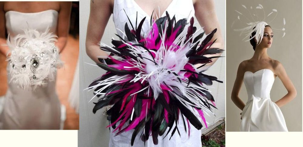 Wedding bouquet with black white and pink feathers