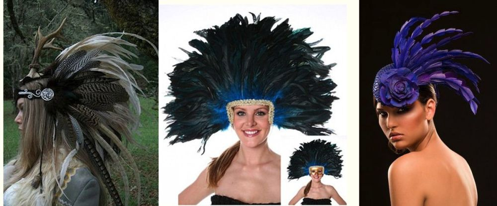 Rooster feathers hair head pieces wedding hats and carnvial wear ideas