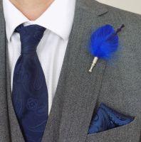 Feather Boutonnière Buttonhole - Royal Blue