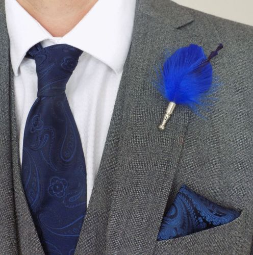Feather Boutonnière Buttonhole - Blue Goose and Marabou