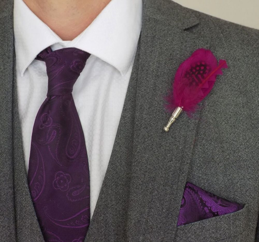 Feather Boutonnière Buttonhole - Very Berry