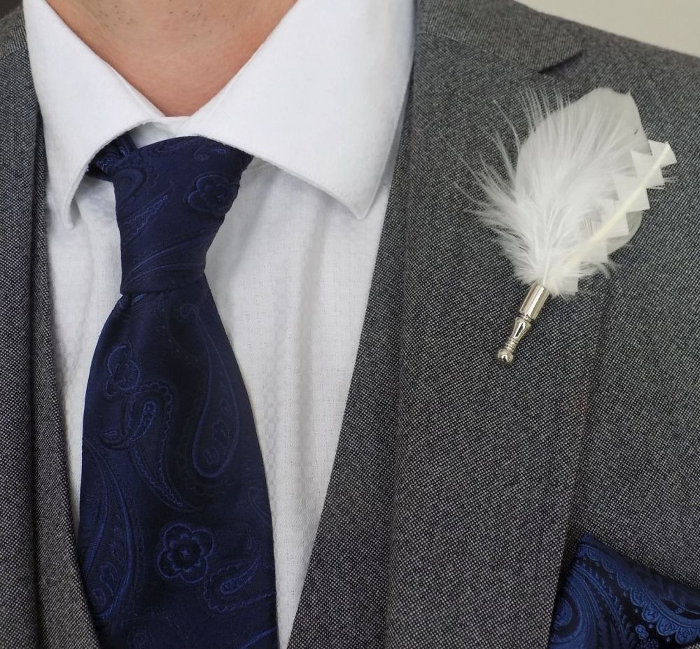 Feather Boutonnière Buttonhole - Ivory Goose and Marabou