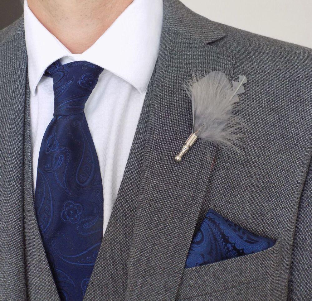 Feather Boutonnière Buttonhole - Silver Grey