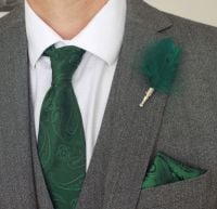 Feather Boutonnière Buttonhole - Dark Green