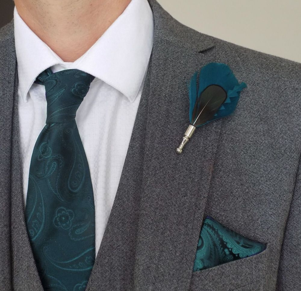 Feather Boutonnière Buttonhole - Peacock Teal