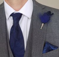 Feather Boutonnière Buttonhole - Navy Blue