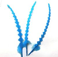 Turquoise Stripped Zig Zag Feathers x 3