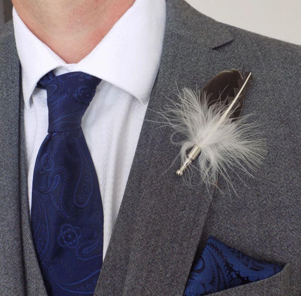 Feather Boutonnière Buttonhole - Natural