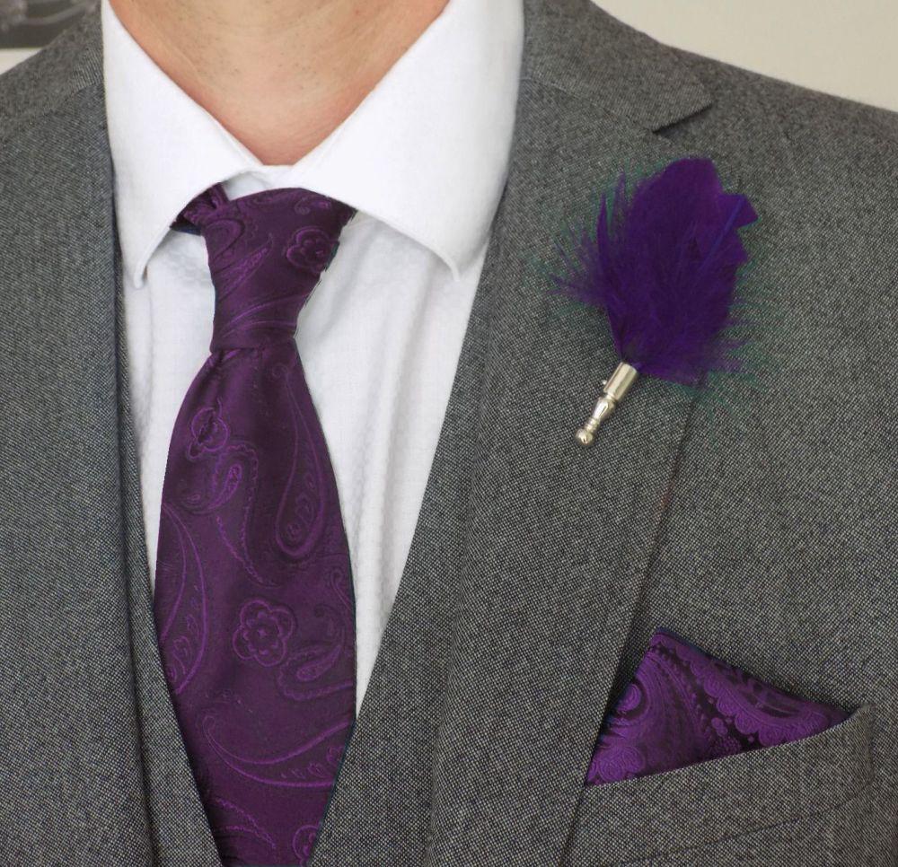 Feather Boutonnière Buttonhole - Purple