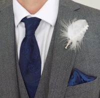 Feather Boutonnière Buttonhole - White