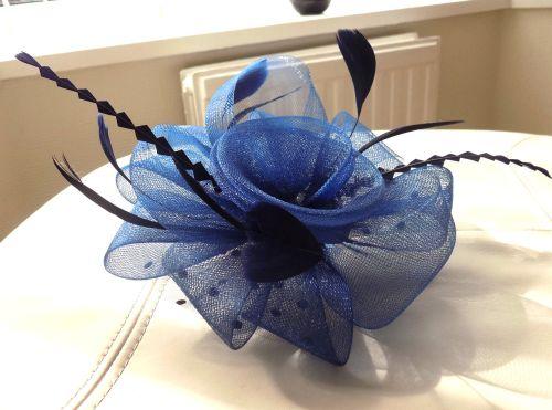 Wedding Fascinator in Navy Blue with Polkadot Netting