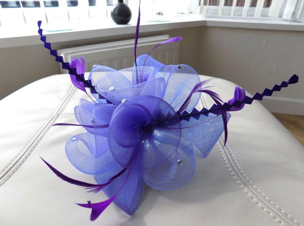 Wedding Fascinator Clip - Purple