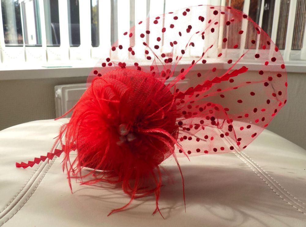 Red Veil Wedding Fascinator Clip