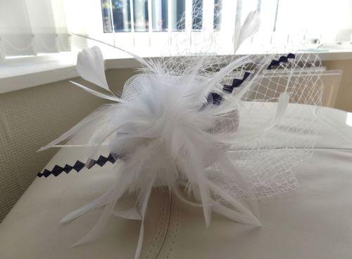 White and Black Veil Wedding Fascinator Clip