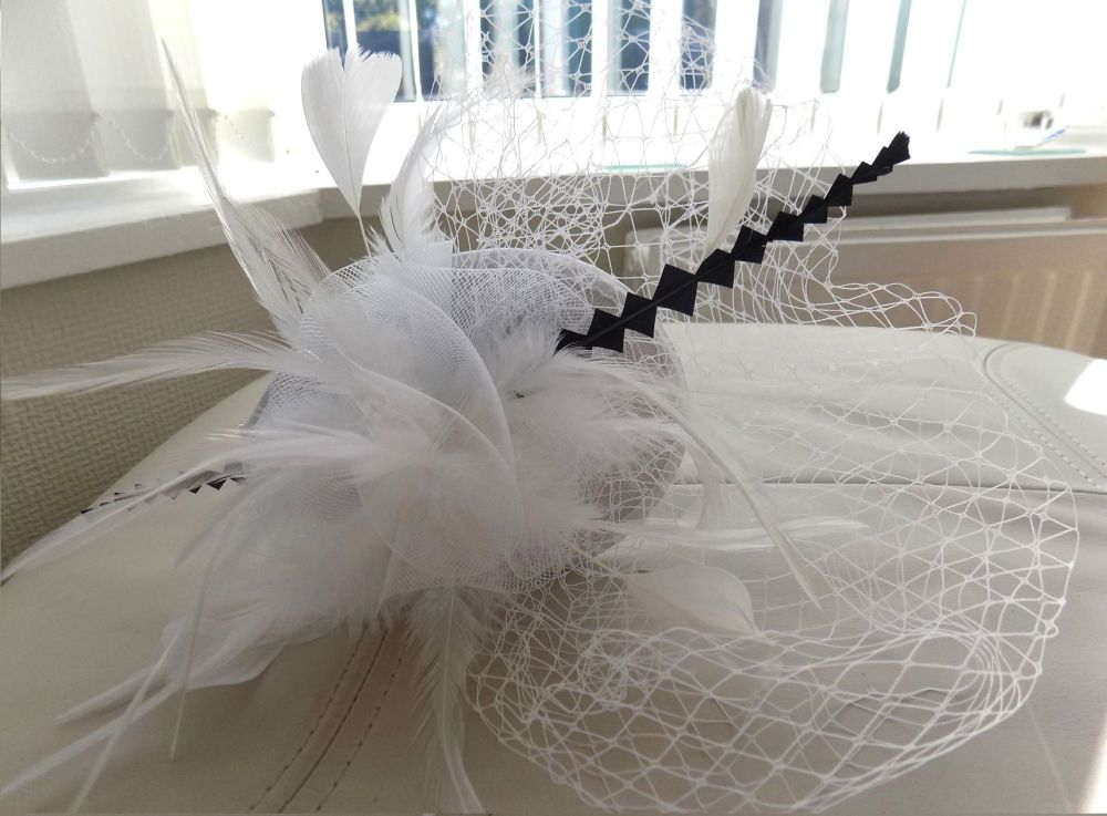 White and Navy Blue Veil Wedding Fascinator Clip