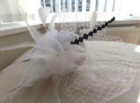White and Navy Blue Veil Wedding Fascinator Clip