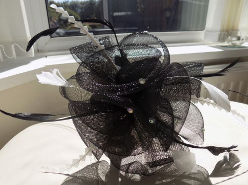 Black and White Wedding Fascinator