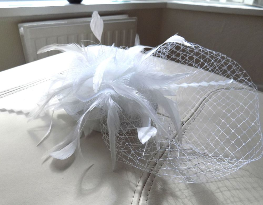 White Veil Wedding Fascinator Clip