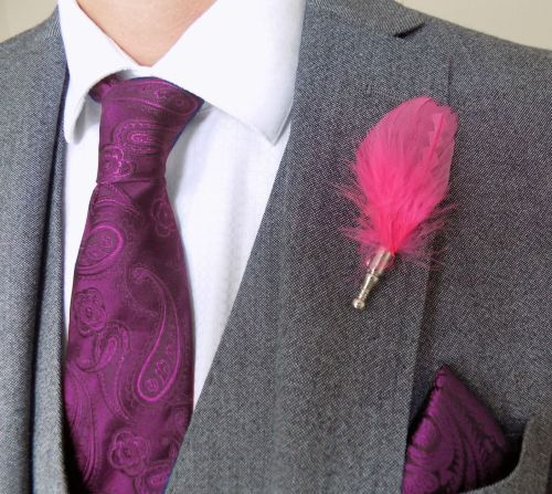Feather Boutonnière Buttonhole - Pink
