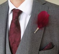 Feather Boutonnière Buttonhole - Red Wine