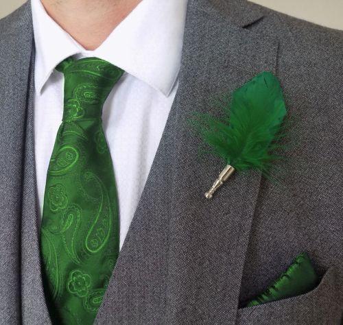 Feather Boutonnière Buttonhole - Green