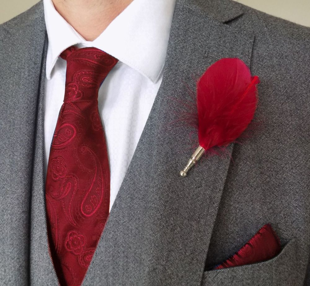 Feather Boutonnière Buttonhole - Red