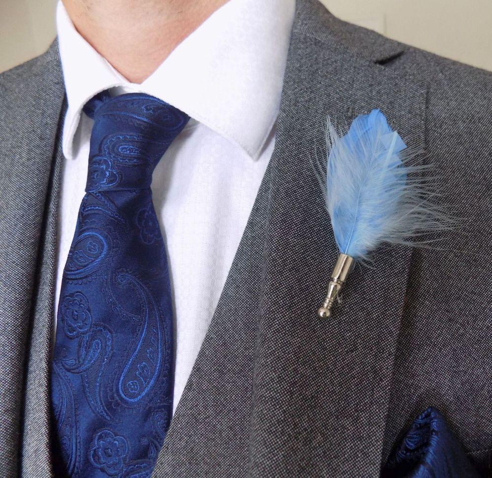 Feather Boutonnière Buttonhole - Pale Blue