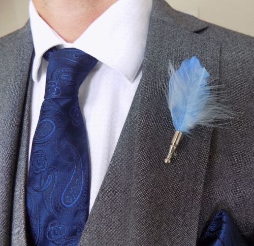 Feather Boutonnière Buttonhole - Pale Blue
