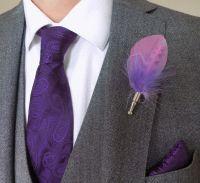 Feather Boutonnière Buttonhole - Lilac and Lavender