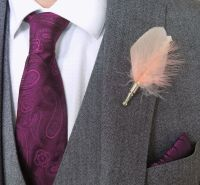 Feather Boutonnière Buttonhole - Peach