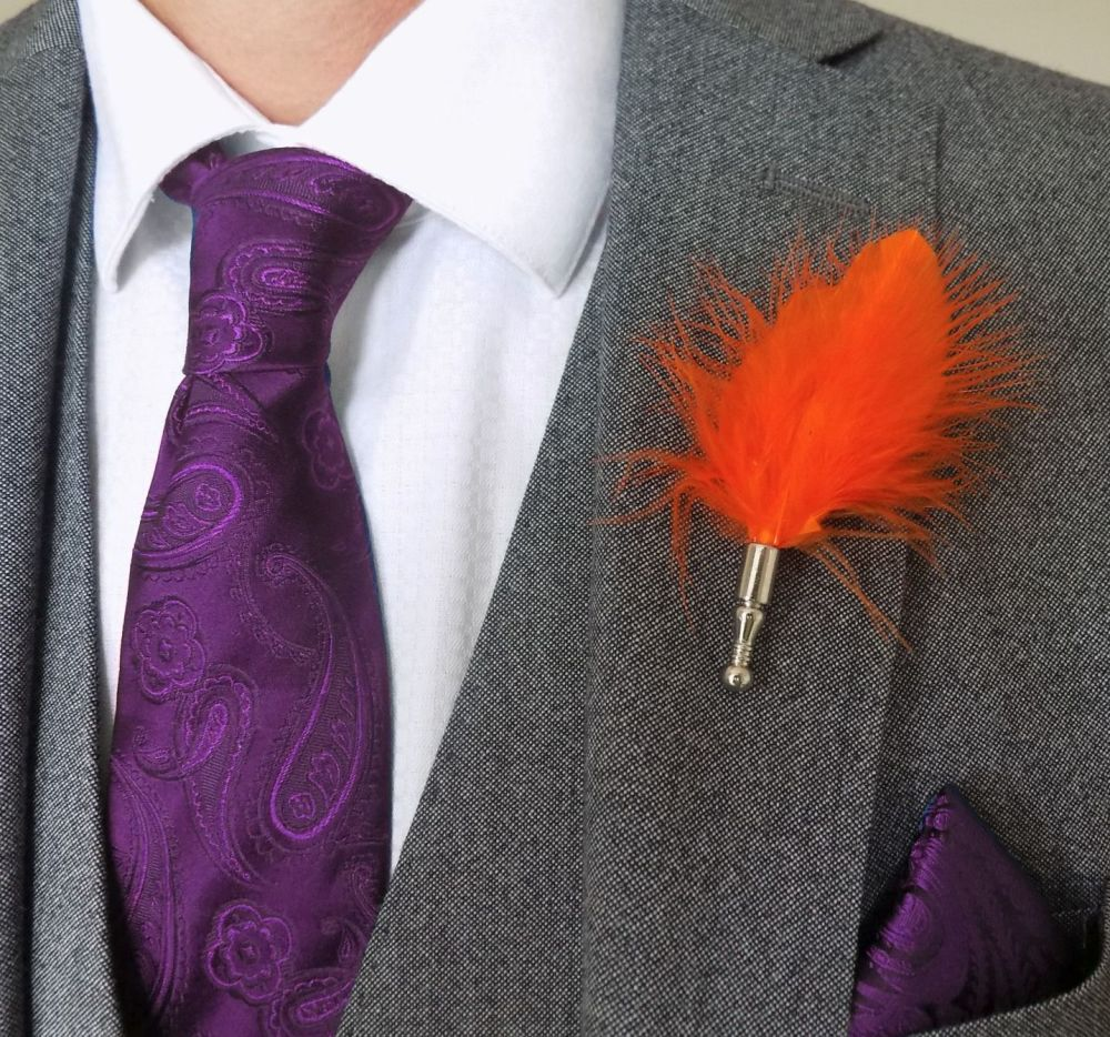 Feather Boutonnière Buttonhole - Orange