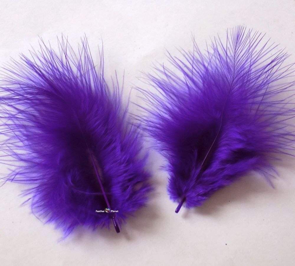 Regal Purple Marabou Feathers - Small