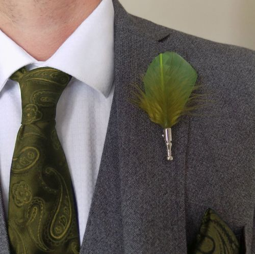 Feather Boutonnière Buttonhole - Olive Moss Green