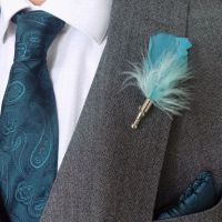 Feather Boutonnière Buttonhole - Turquoise
