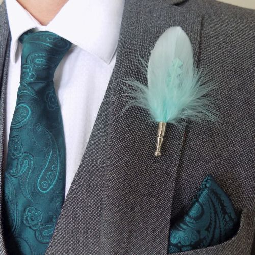 Feather Boutonnière Buttonhole - Mint Green