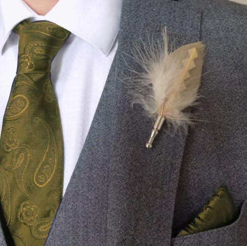 Feather Boutonnière Buttonhole - Beige