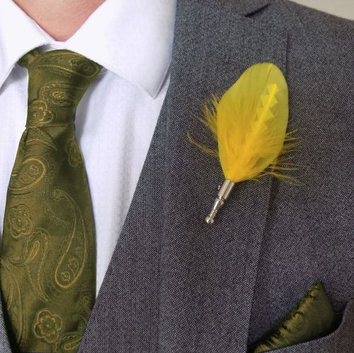 Feather Boutonnière Buttonhole - Yellow