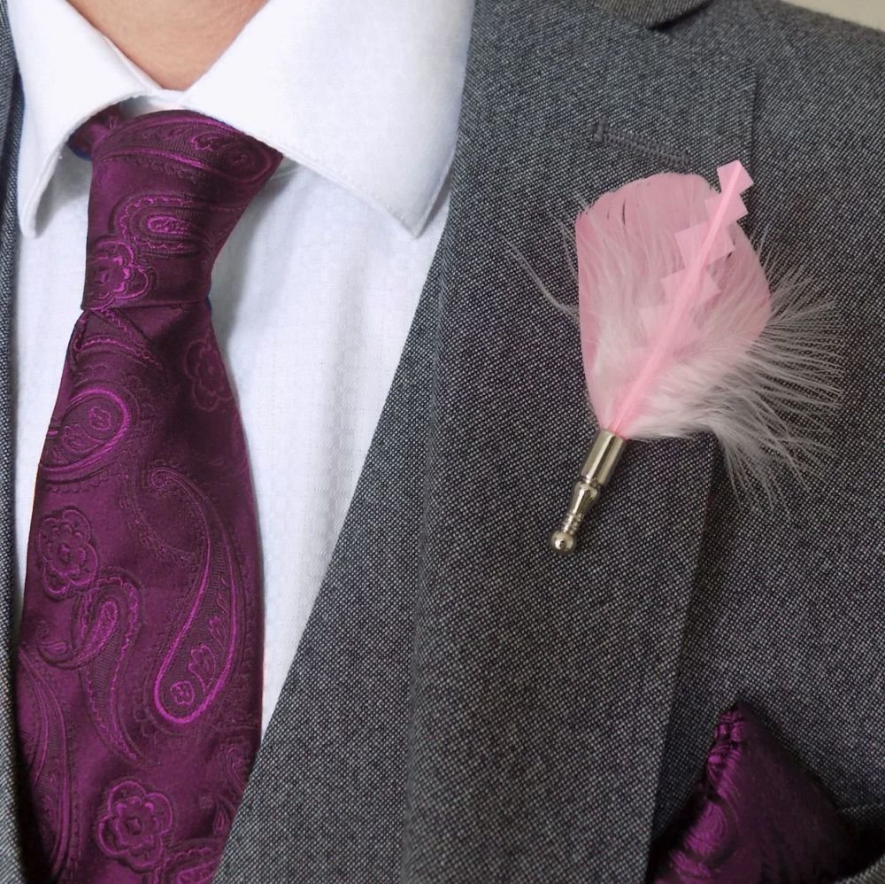 Feather Boutonnière Buttonhole - Baby Pink