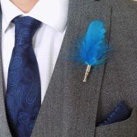 Feather Boutonnière Buttonhole - Aqua Blue