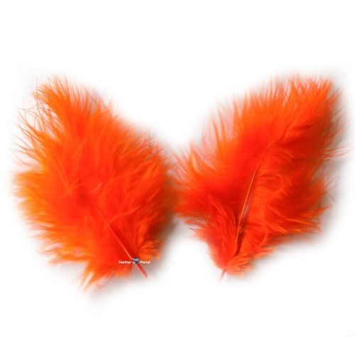Orange Marabou Feathers - Small