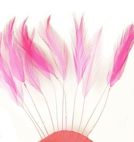 Pink Orient Rooster Feathers Hackles Stripped x 10