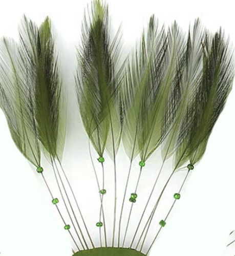 Moss Green Rooster Feathers Hackles Stripped x 10